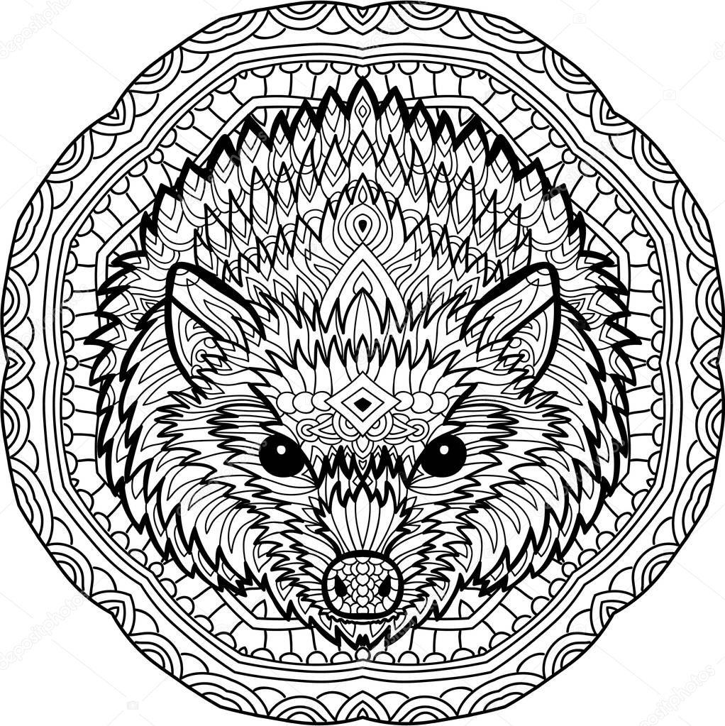 Stern Hedgehog On A Background Of A Circular Mandala