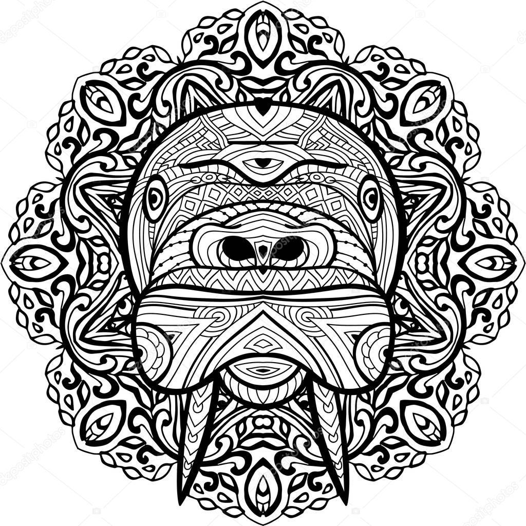Elemento para su diseño. Patrón circular étnica nacional a la cabeza ...