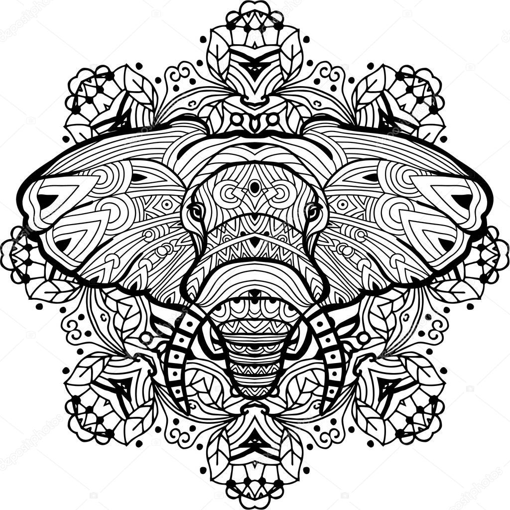 Painted elephant on a background of circular pattern. Coloring page ...