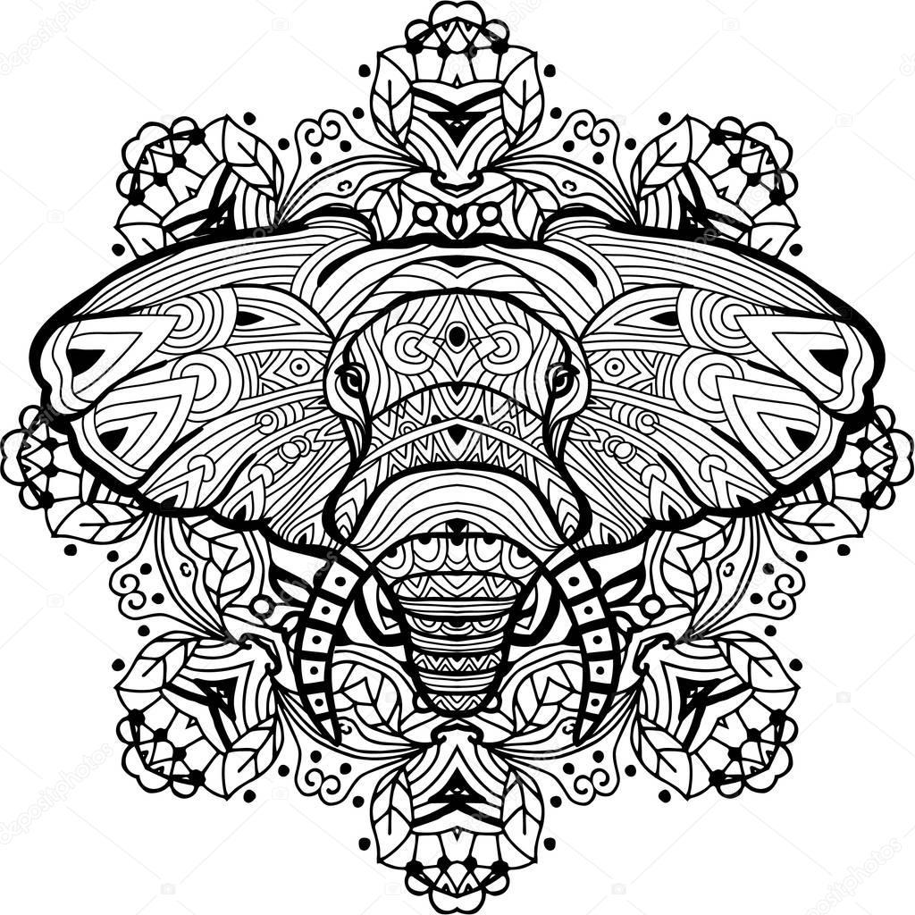 geschilderde olifant op een achtergrond circulaire
