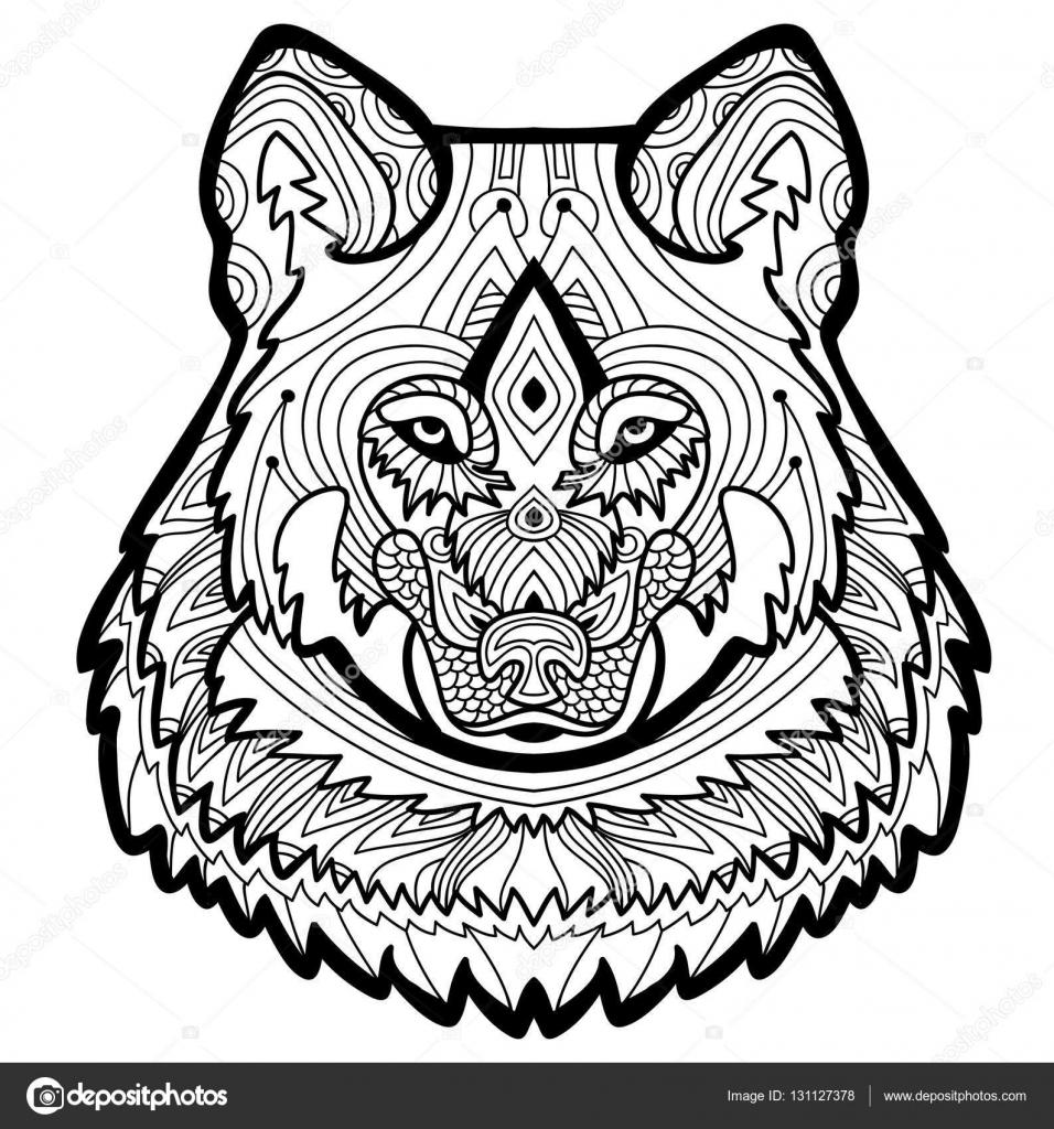 Página para colorear para adultos. Lobo fuerte es dibujado a mano ...