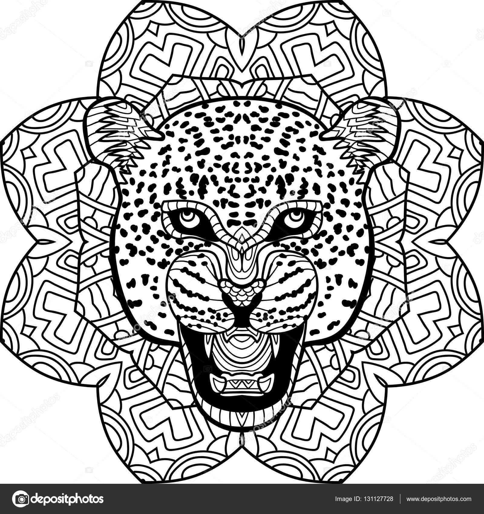 Kleurplaat Voor Volwassenen Stern Jaguar Op Een Achtergrond Van Een