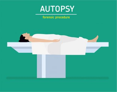 Flat illustration. Forensic procedure. The autopsy. The woman is a murder victim