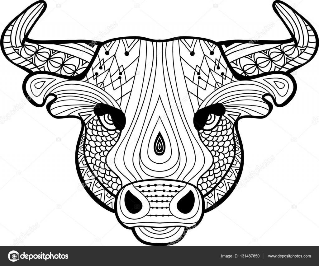 kleurboek voor volwassenen het hoofd een buffel