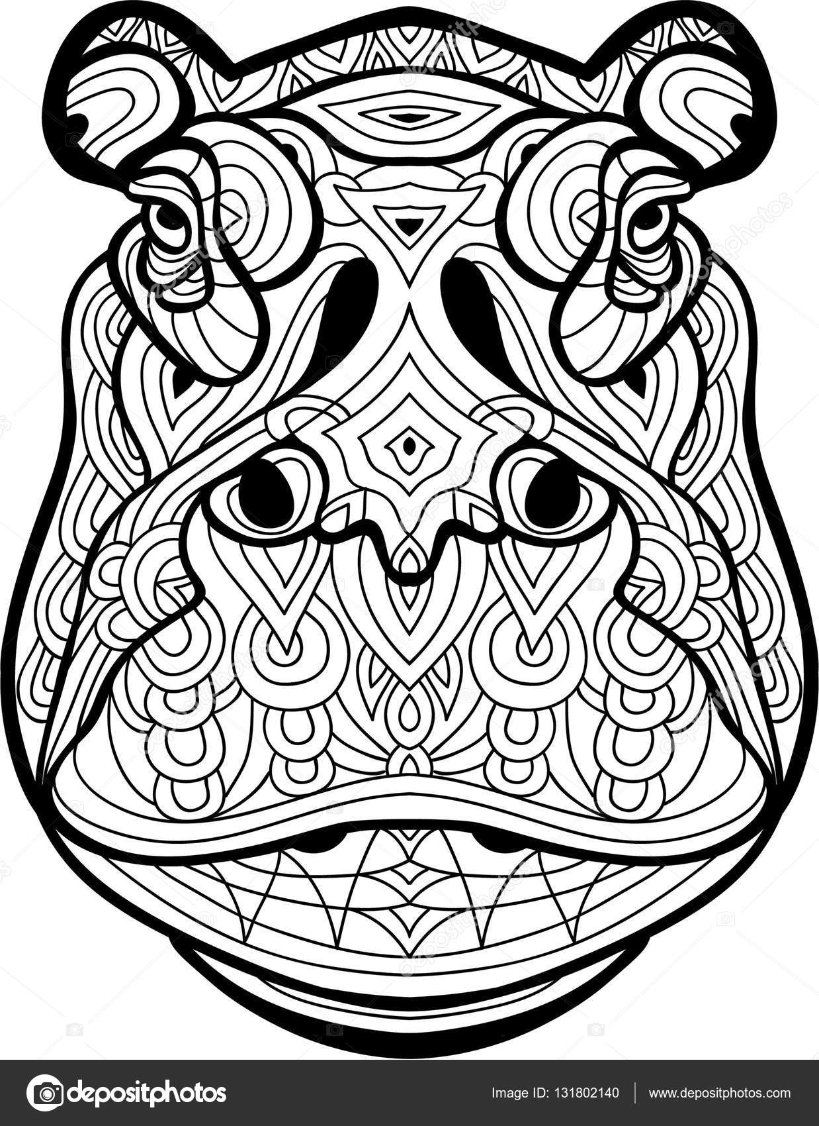 Página para colorear para adultos. La cabeza del poderoso Behemoth ...