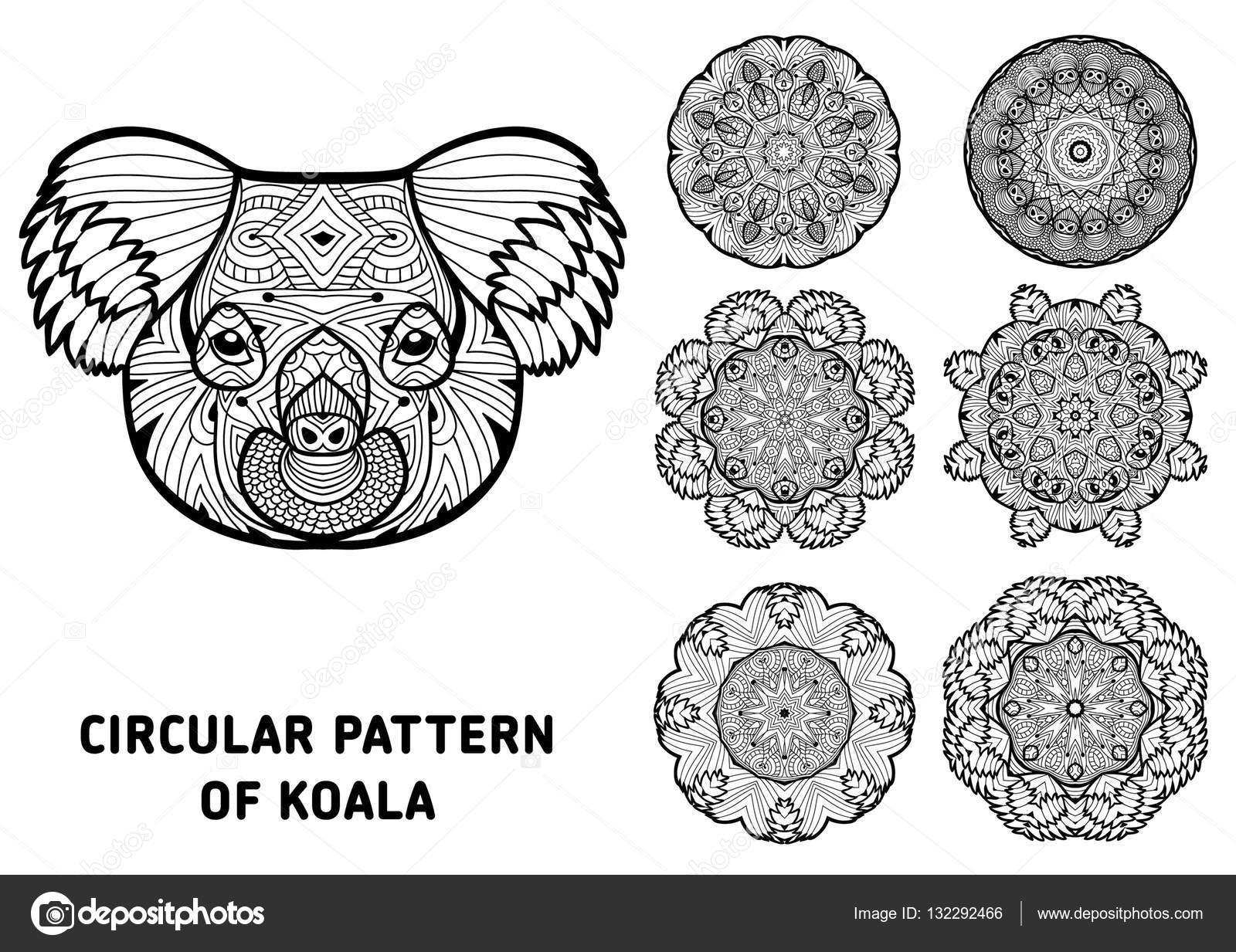 Kleurboek Voor Volwassenen Het Hoofd Van Een Koala Met Patronen