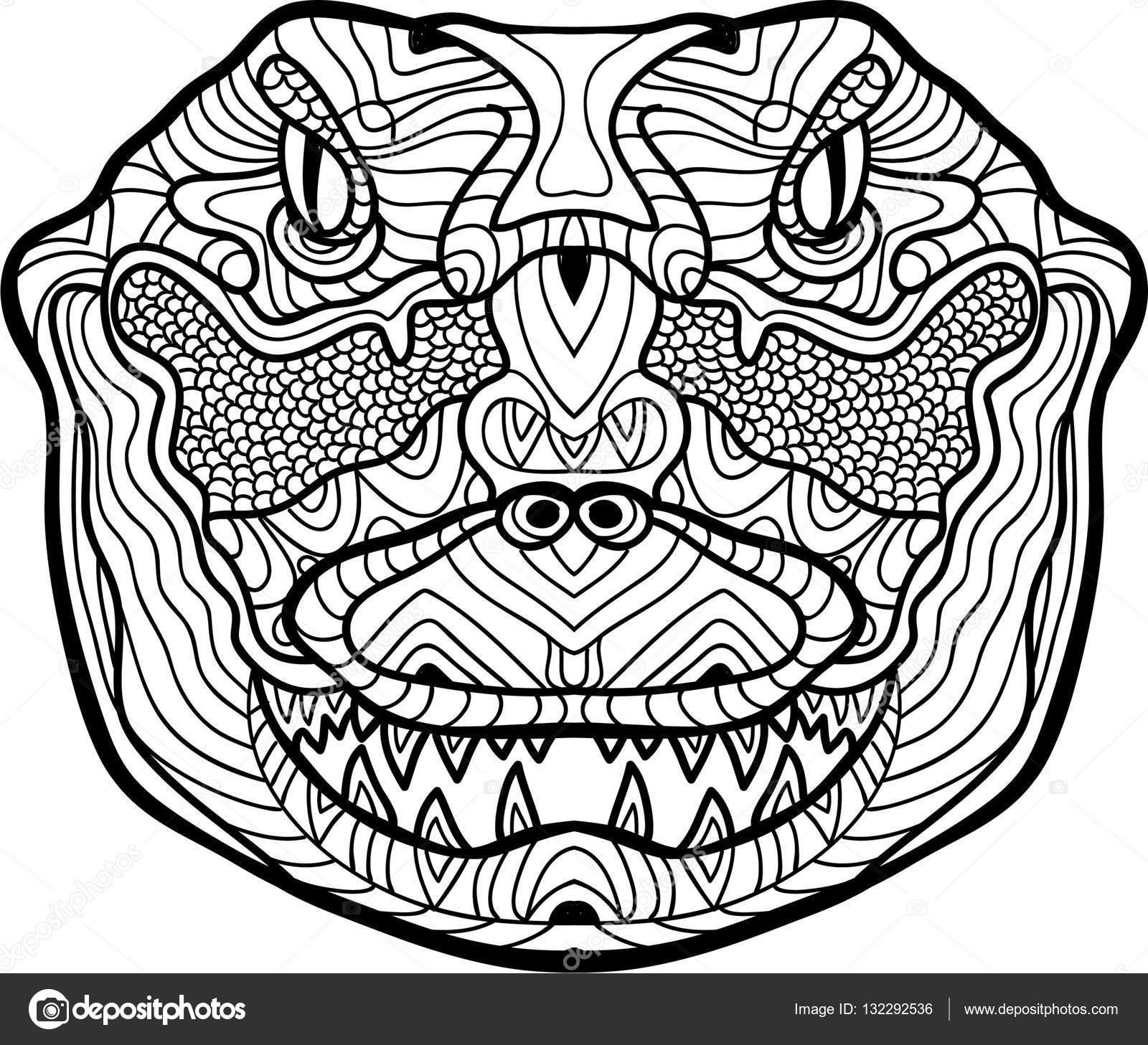 Página para colorear de antiestrés. Feroz cocodrilo es dibujado a ...