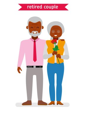 Retired couple. Flat vector cartoon character design. African American family.