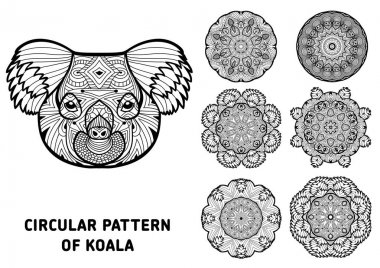 Coloring book for adults.  The head of a Koala with patterns. Australia animals