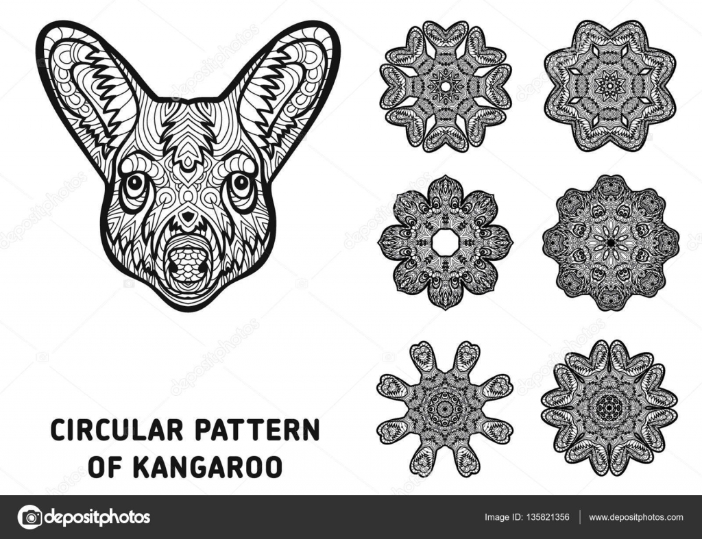 Coloring Book For Adults The Head Of A Kangaroo With Patterns