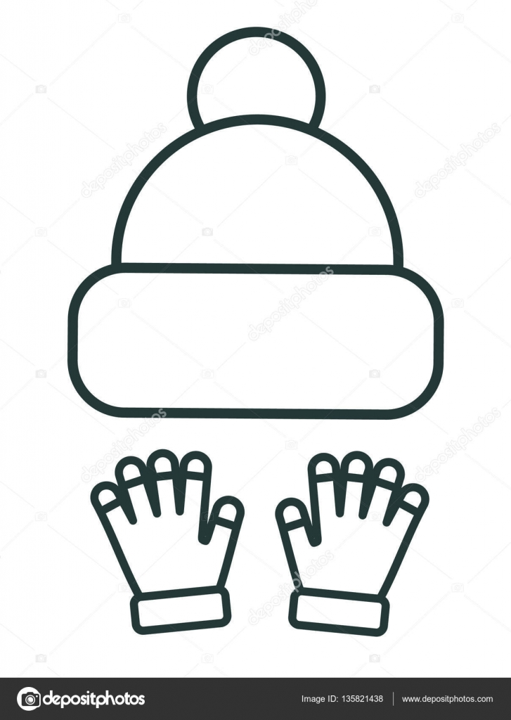 64ba933d369e Line icon kid winter hats with gloves. Sports equipment. Winter sports  pictogram collection.