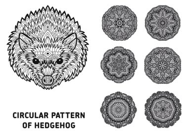 Line art. Element for your design. The head of a hedgehog