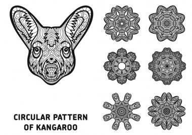 Coloring book for adults.  The head of a kangaroo with patterns. Australia animals