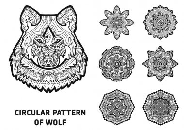 Line art. Element for your design. The head of a wolf