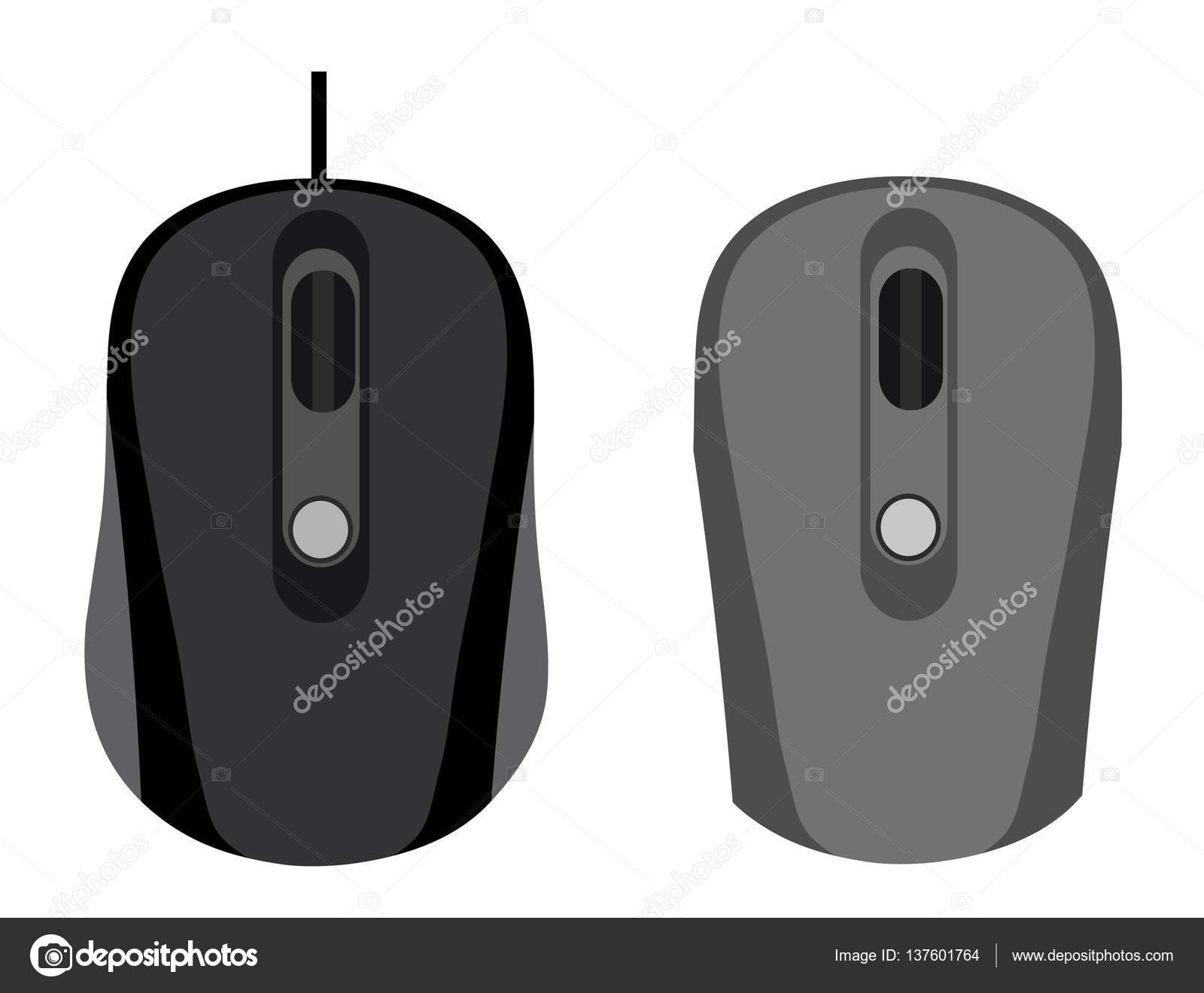 The wired and wireless mouse on white background. — Stock Vector ...