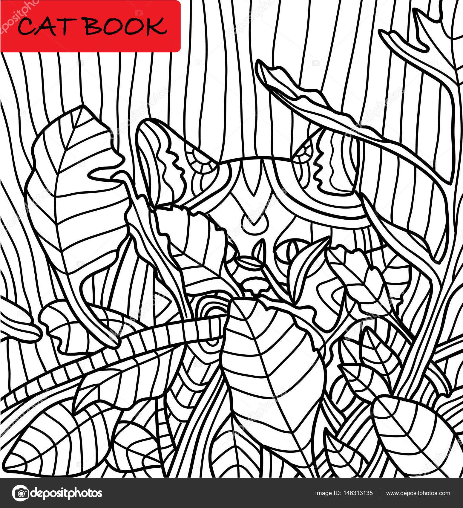Libro para colorear para adultos. Lindo gato en la selva. Un libro ...