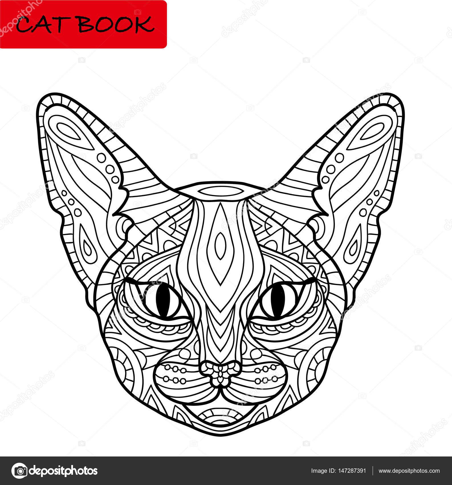 Libro de colorear de gato para los adultos. Impresionante cabeza de ...