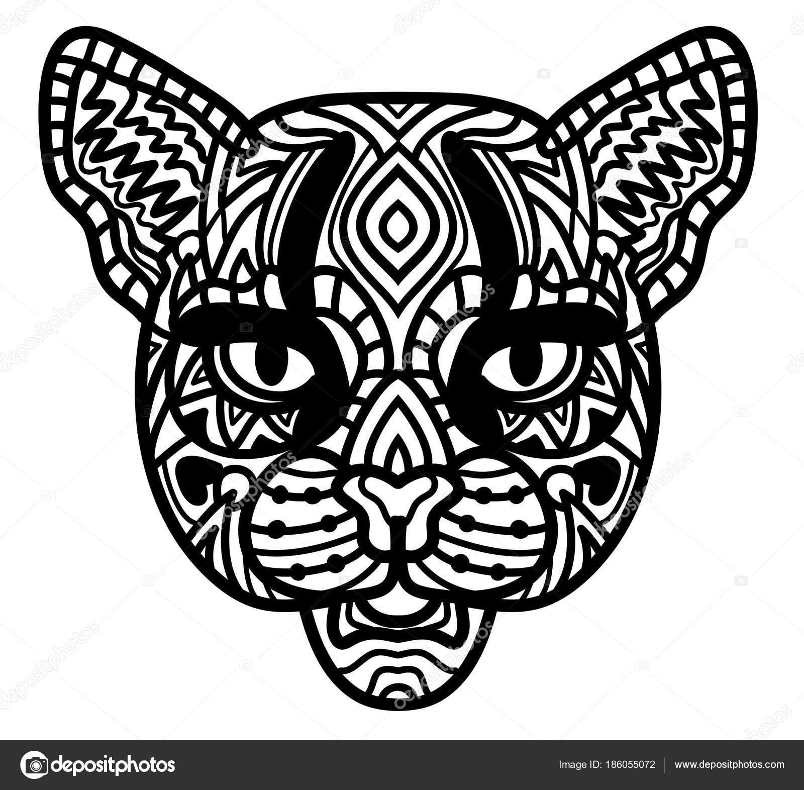 Katze. Handgezeichnete Wildkatze mit ethnischen Doodle Muster ...