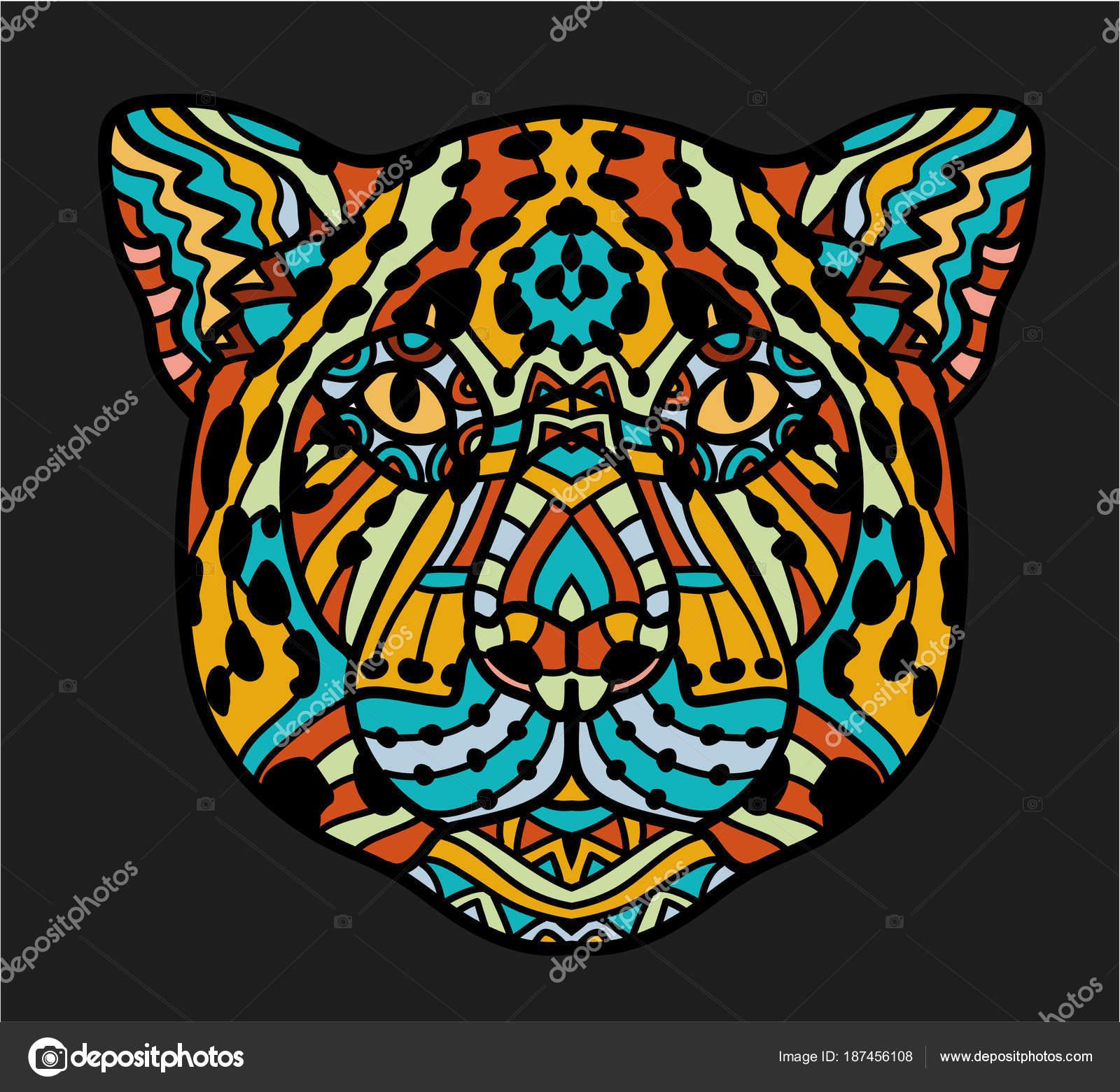 Con cabeza de Jaguar. Página para adultos anti-stress para colorear ...