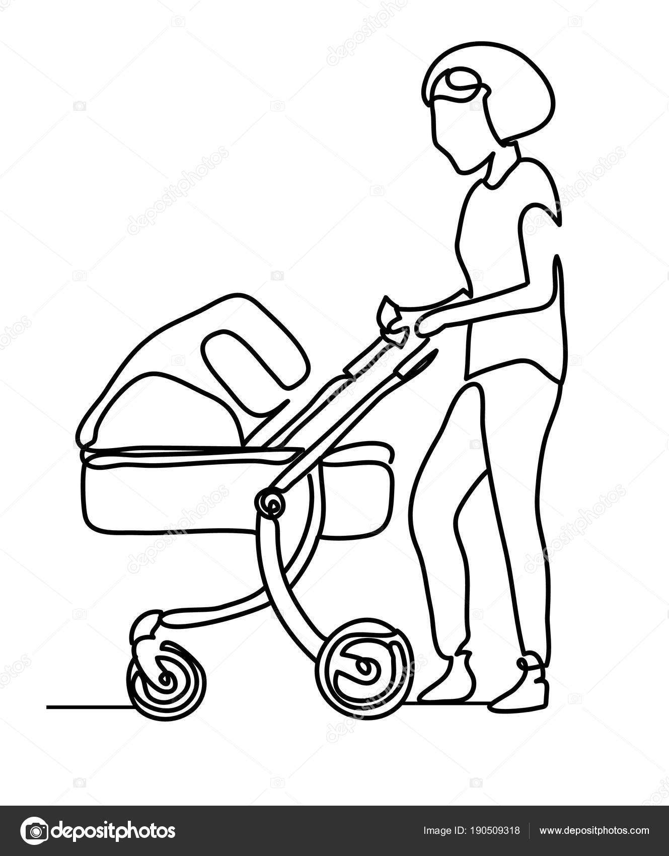 Dessin Au Trait Continu Une Seule Ligne Femme Avec Un Bebe Dans