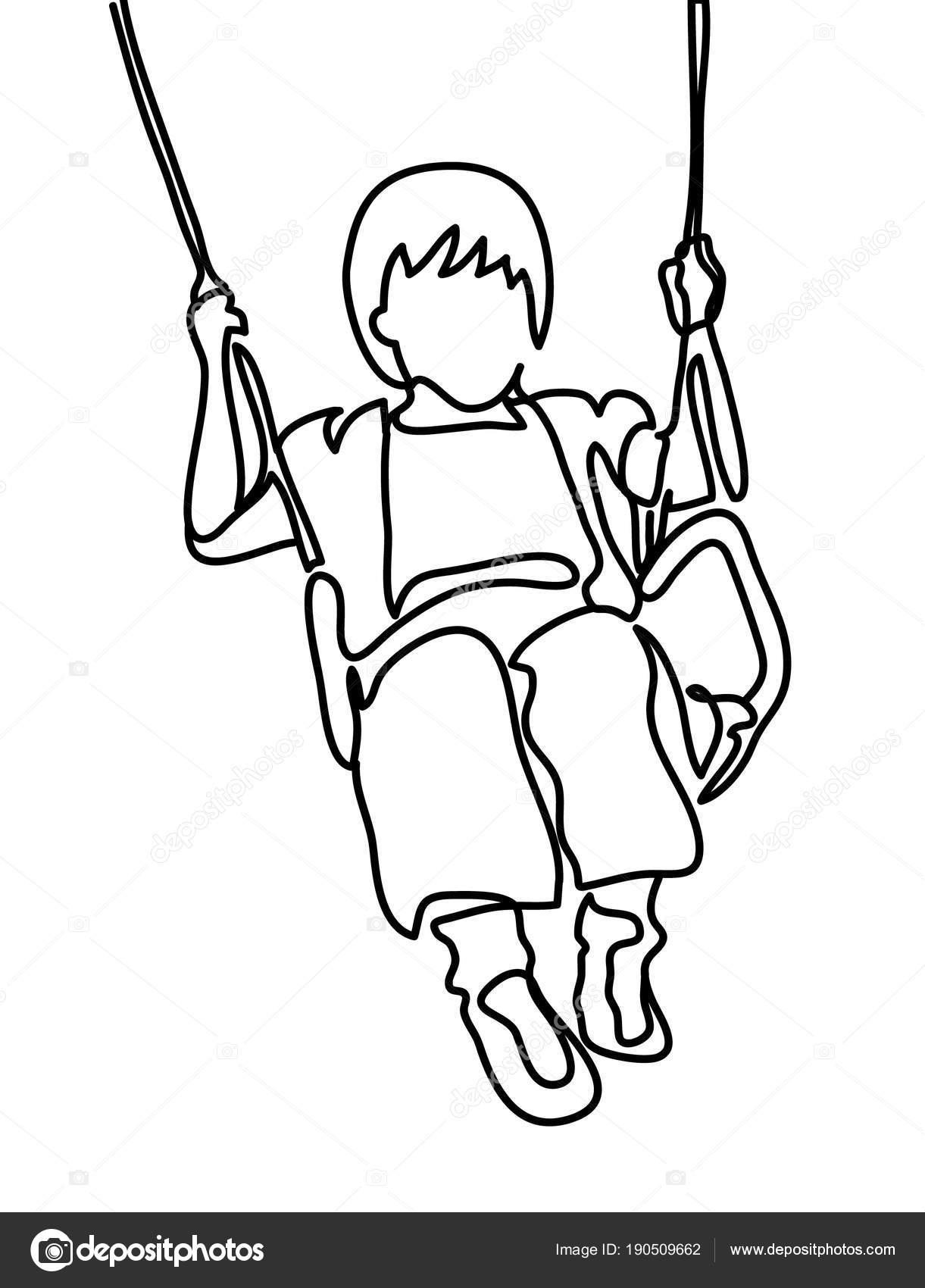 Dessin Balançoire dessin au trait continu. jeune fille se balancer sur une balançoire