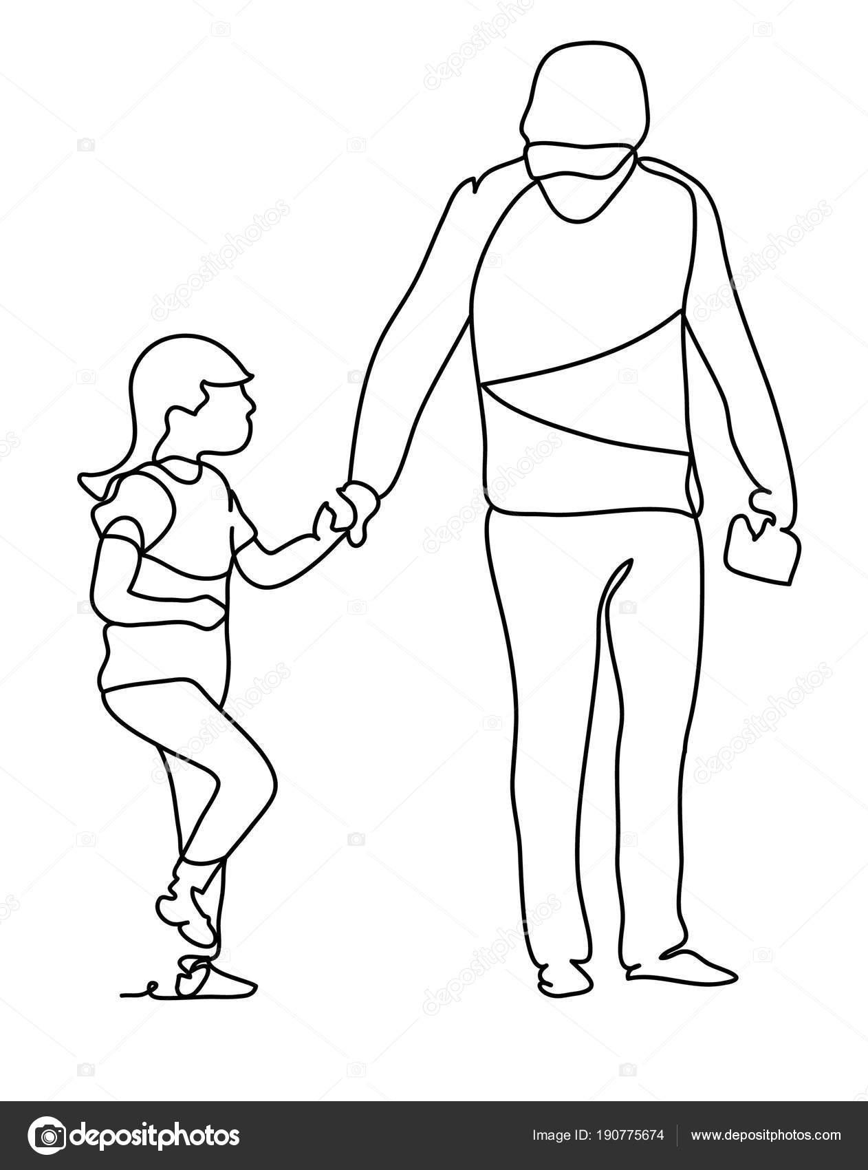 Padre con su hija. Familia feliz y el día del padre. Dibujo de línea ...