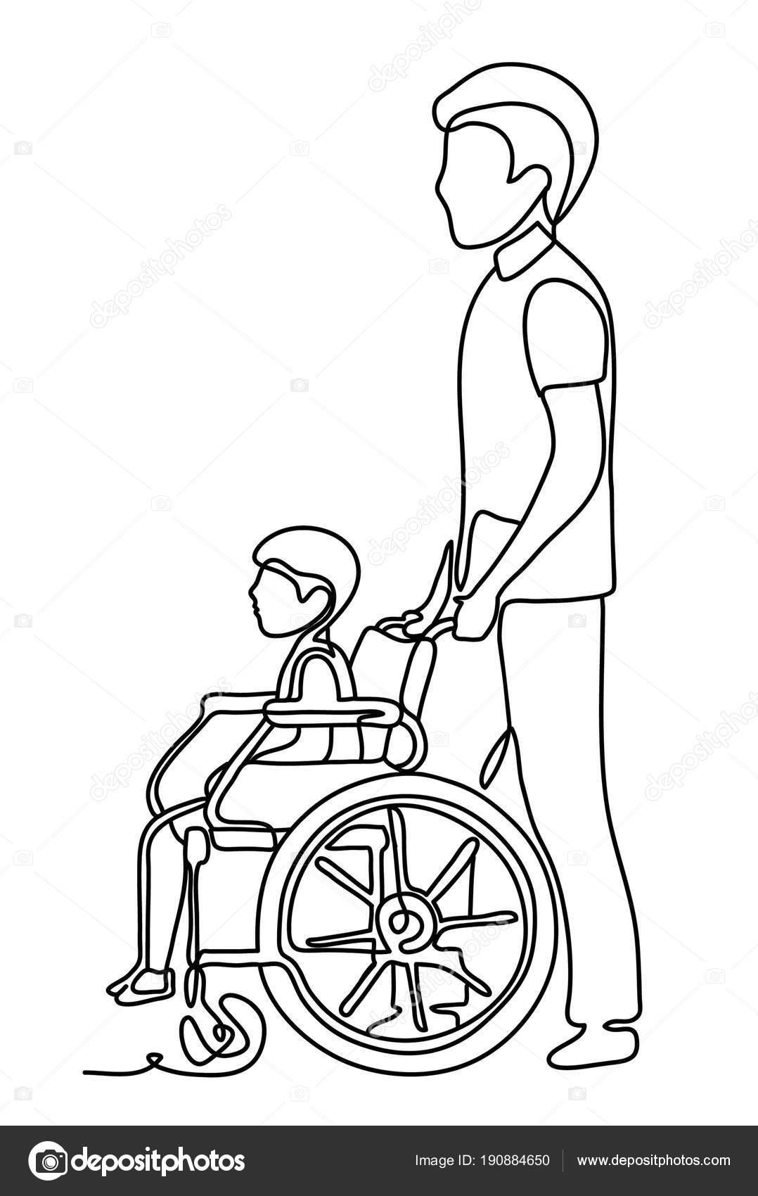 Imágenes Un Niño En Silla De Ruedas Para Dibujar Padre