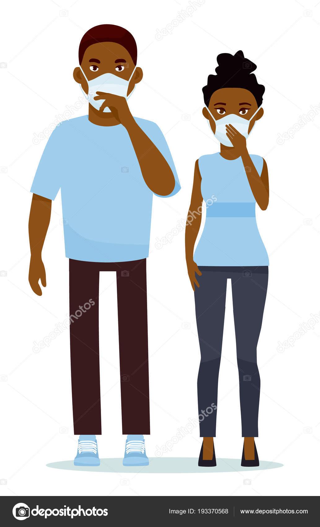 meilleur endroit offre chaussures de tempérament Couple africain portant un masque chirurgical sur fond blanc ...