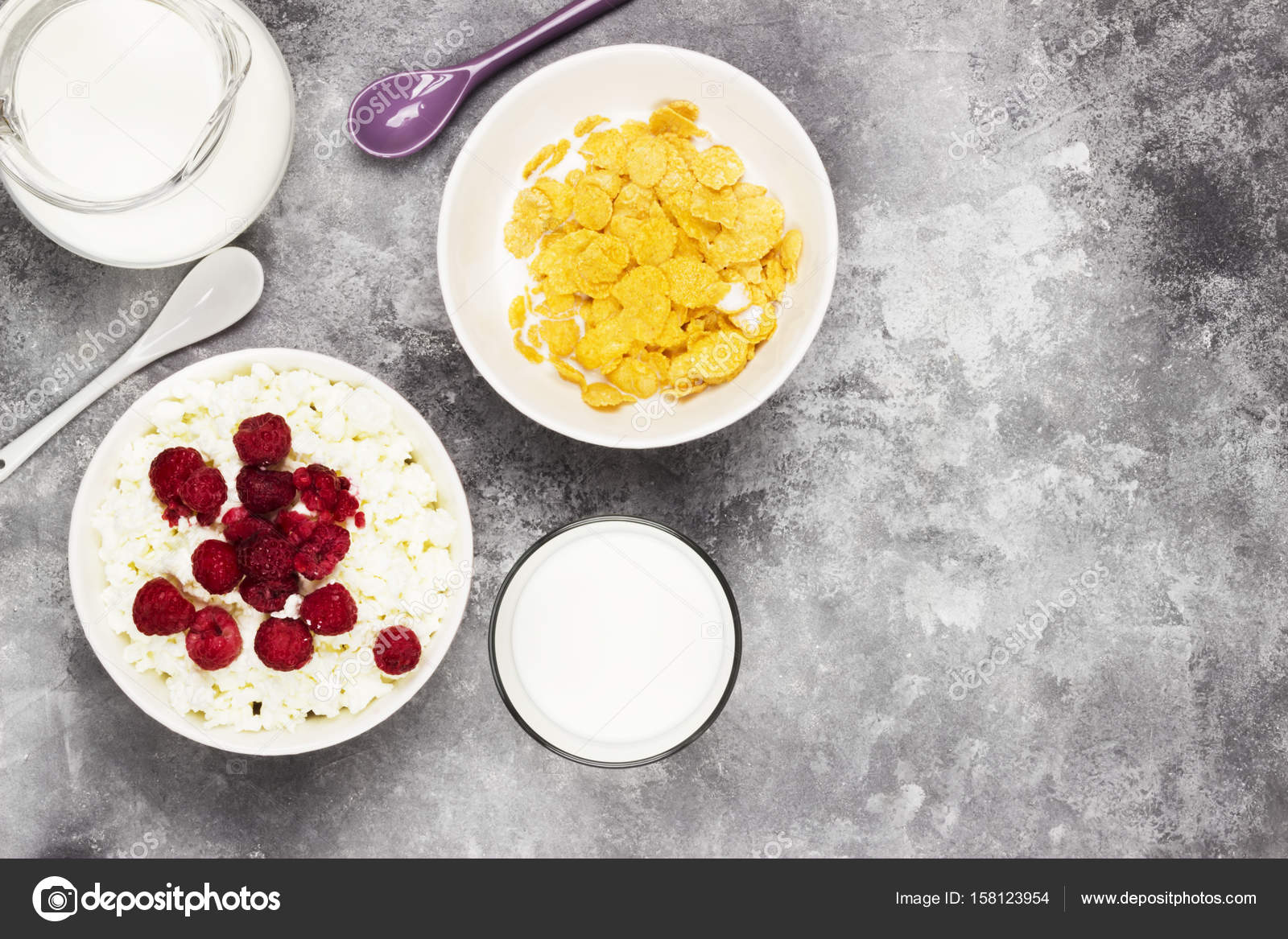 Cottage Cheese In Bowl With Frozen Raspberry And Cup Of Cornflak U2014 Stock  Photo