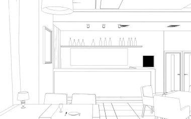 Cafe interior visualization, 3D sketch illustration