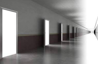 3d corridor interior illustration