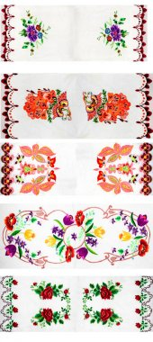Handmade embroidery, folk arts and crafts stock vector