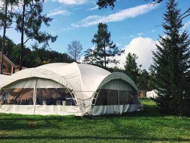 Big white tent in forest. tent for wedding