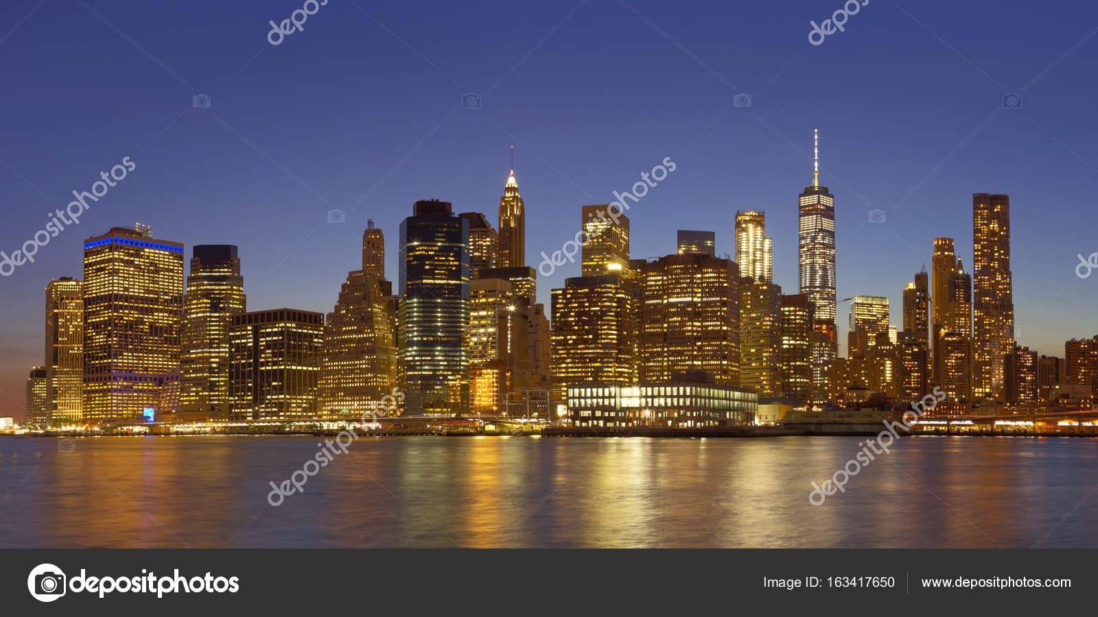 Nyc Skyline At Night Wallpaper The New York City Skyline At Night Stock Photo C Sara Winter 163417650