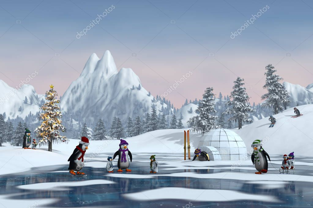 Penguins in a snowy Christmas mountain landscape, 3d render