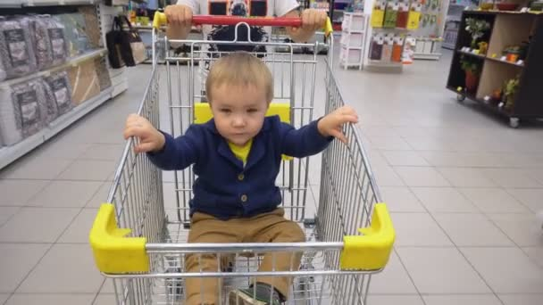 Little child sits in shopping cart in store