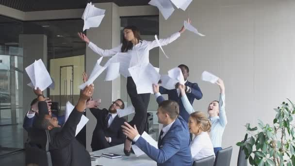 Business people celebrates their success, slow motion