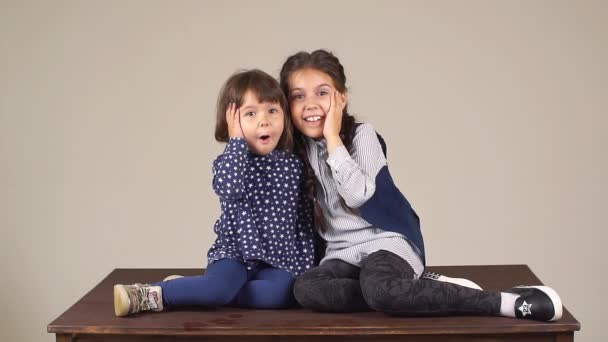 Portrait of a little sisters. Two little girls fooling around and having fun.