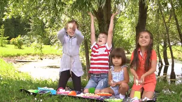 Picnic outdoors on a summer day. Slow motion