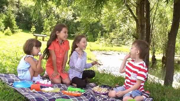 Piknik venku na letním dni. Zpomalený pohyb