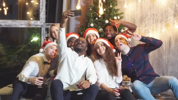 Christmas Evening Party.Smiling Group Of Friends Celebrate Evening Event With Selfie At Christmas Party