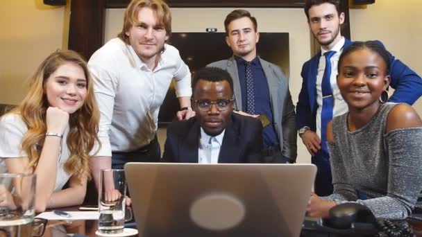 Group Of Multi-Ethnic Startup Entrepreneur Smiling and Looking at Camera, Dolly Shot.