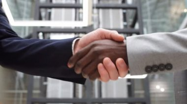 Multicultural businessmen shaking hands during contract signing at workplace