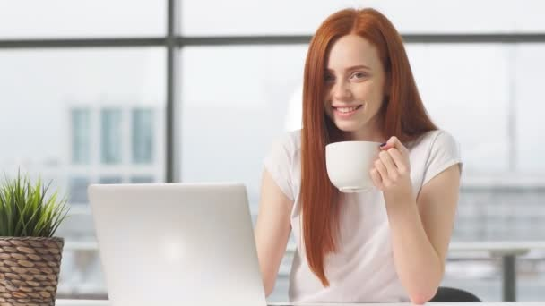 Joyful redhead girl sitting by table with laptop and looking in camera.