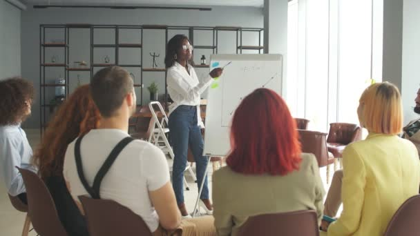 Female business consultant training new company employees.