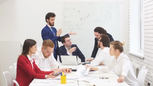 Professional business team gathered in office to talk, discuss business project