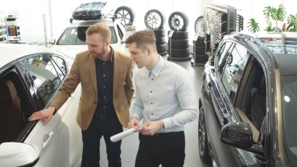 Young consultant talking about features of new car.