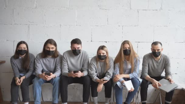 Ill young people in medical protective masks