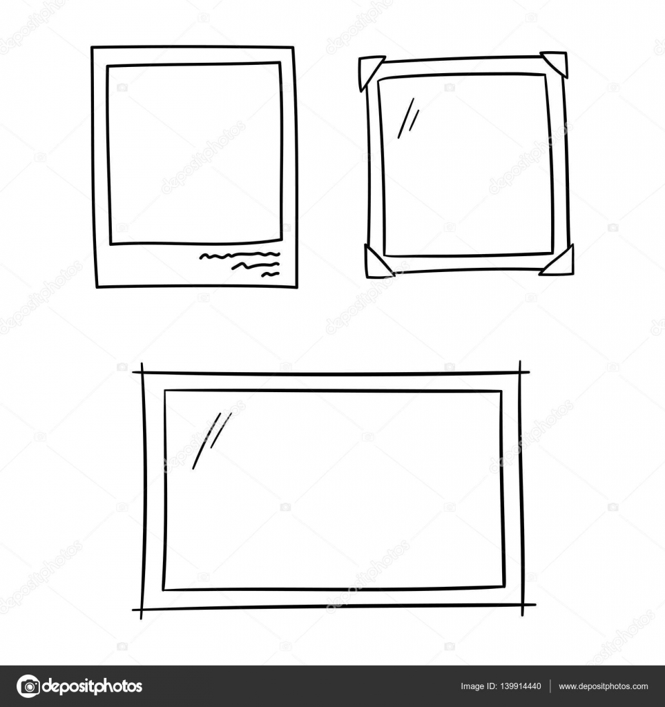 Photo frames for album memory doodle set - isolated vector ...