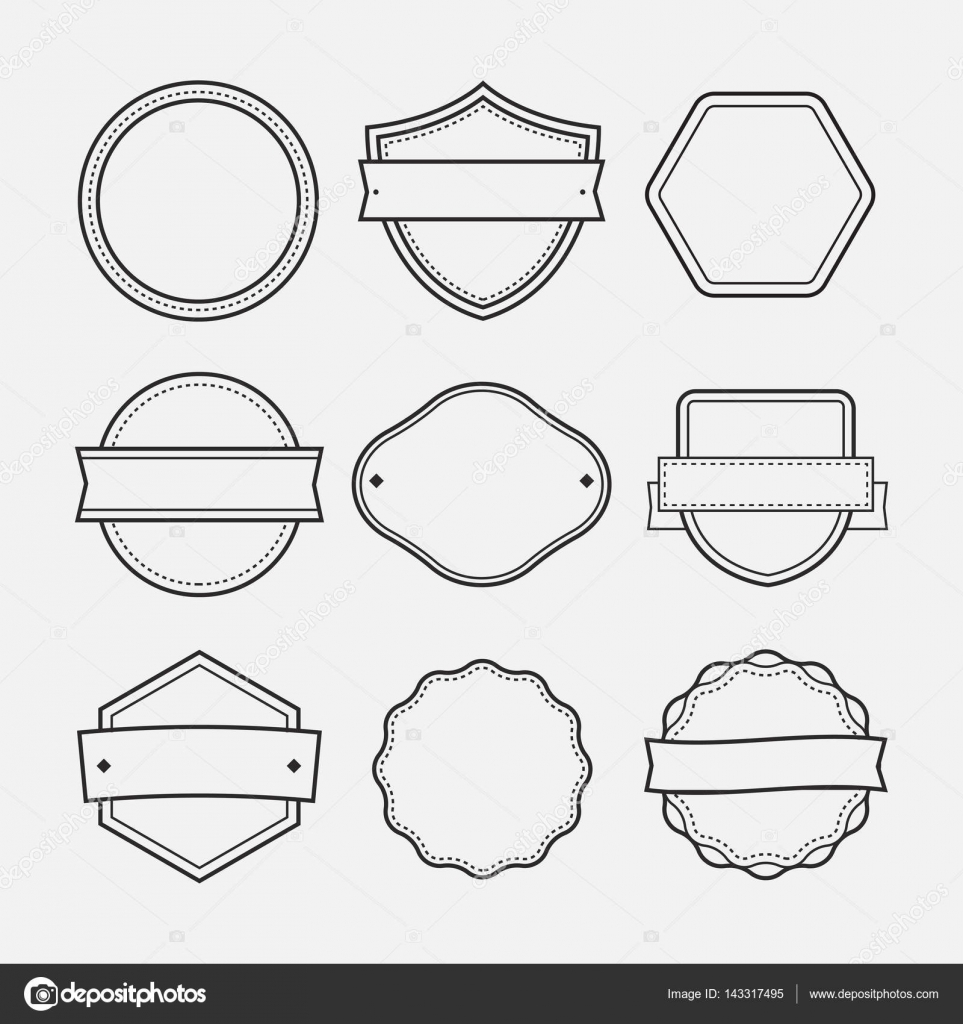 Blank logo frames drawn set sketch doodle - isolated vector ...